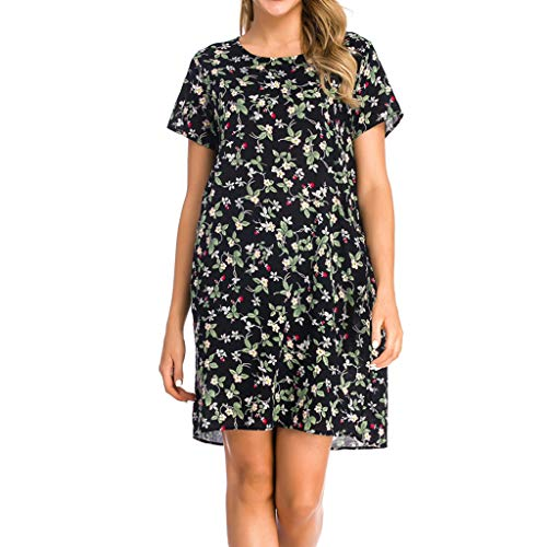 Women's Vintage Print Short Sleeve Ladies O-Neck Casual Knee-Length Dress Green