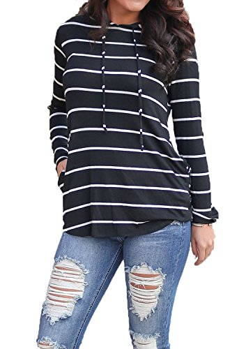 Women's Hooded Cotton Stripe Sweatshirt Tops Blouse with Pockets Black,S (Jumper Cotton Bodice)