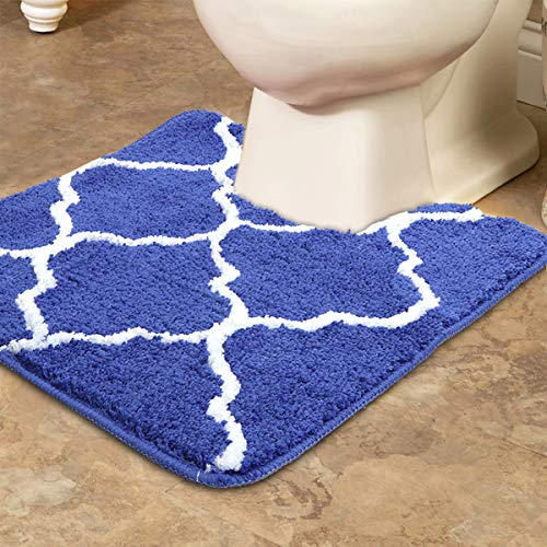 Uphome Geometric Series Moroccan Microfiber Bathroom Shower Accent Rug - Non-Slip Soft Absorbent Decorative Bathroom Floor Mat (Blue, Contour Rug)