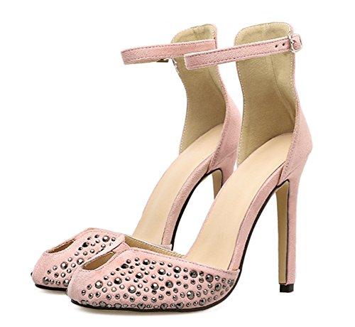 Aisun Damen Modern Cut Out Niete Pfennigabsatz Knöchelriemchen Sandale mit Schnalle Rosa