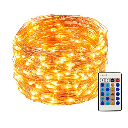Weico LED String Lights 99ft 300 LEDs Dimmable with Remote Control, Copper Wire Starry Lights for DIY Bedroom, Patio, Garden, Gate, Yard, Party, Wedding (Warm White)