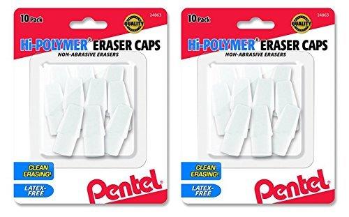 2 X Pentel Hi-Polymer Eraser Caps Non-Abrasive Erasers, Pack of 10 (ZEH02BP10)