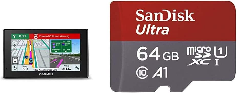Garmin DriveAssist 51 NA LMT-S w/Lifetime Maps/Traffic, Dash Cam, Camera-Assisted Alerts, Lifetime Maps/Traffic,Live Parking & SanDisk 64GB Ultra microSDXC UHS-I Memory Card with Adapter