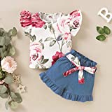 YALLET 3PCS Toddler Girl Outfit ,Short Sleeve