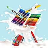 Non Toxic Crayons for Toddlers -Washable Rotating Non-Toxic 3 in 1 Effect(Crayon-Pastel-Watercolor); Coloring Gift for Kids; Twistable Slick Crayons (36 Colors)