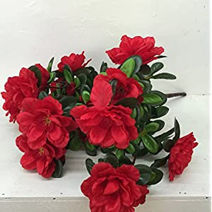 Skyseen 5PCS Artificial Azalea Flower Fake Rhododendron Simsii Floral Bouquet for Home Decoration,Red 24