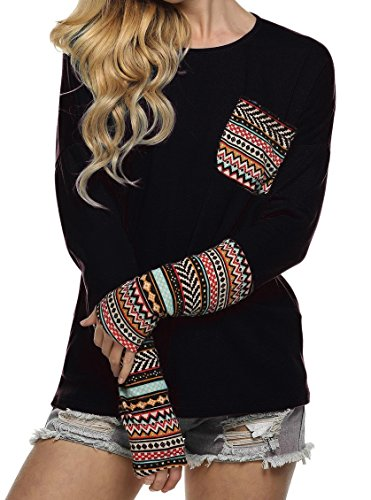 (Women's Fashion Long Sleeve Striped Patchwork Casual Loose Tee Shirt Tops (M, Black))