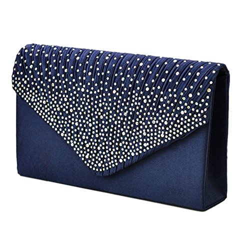 Clutch Evening Navy Wedding Bag Envelope Handbag studded Rhinestone Satin Party Blue Bag Women's RYxZnAw