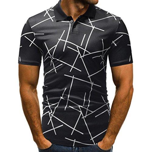 vermers Mens Polo Shirts Buttons Design Half Cardigans Short Sleeve Patchwork Casual T Shirt(XL, Black)