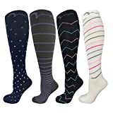 4 Pair Extra Soft Small/Medium Colorful Compression Socks, Moderate/Medium Graduated Compression 15-20 mmHg, For Men and Women. Therapeutic, Occupational, Travel & Flight Knee-High Hosiery.