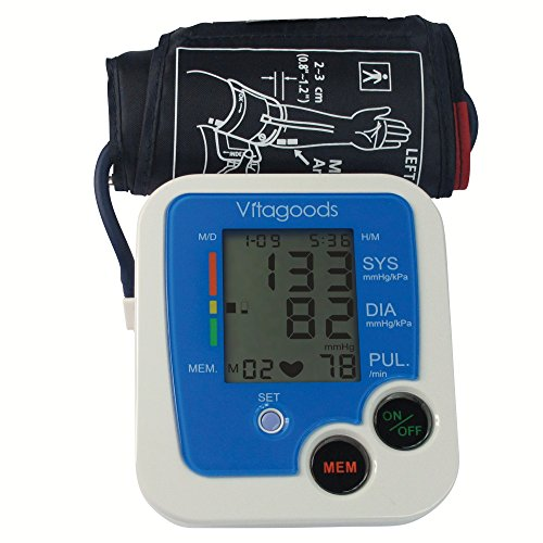 Vitagoods Blood Pressure Monitor, White/Blue