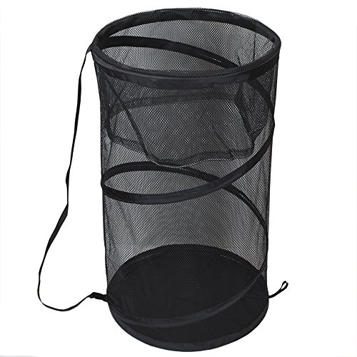 (Sunbeam Breathable Mesh Collapsible Pop-Up Barrel Hamper (Black))