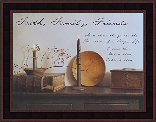 (Faith Family Friends by Billy Jacobs 15x19 Country Rustic Primitive Photography Folk Art Wall Décor Framed Picture)