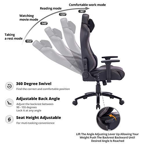 KILLABEE Big and Tall Gaming Chair Racing Office Chair – Adjustable Back Angle, Soft Fabric Lumbar Support and Arms Ergonomic High-Back Leather Computer Desk Swivel Chair w Metal Base, Gray