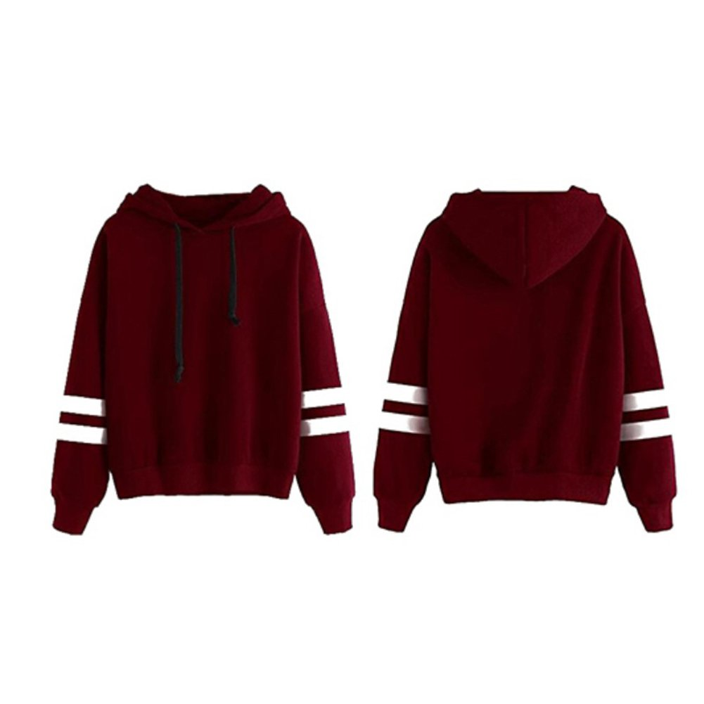 MeterMall Unique Style Women Concise Solid Color Hoodie Long Sleeve Fashion Loose Type Soft Cotton Tops Wine Red S at Amazon Womens Clothing store: