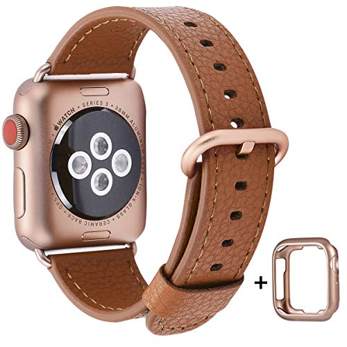 Apple Watch Band 38mm - PEAK ZHANG Women Light Brown Genuine Leather Replacement Wrist Strap with Gold Metal Clasp for Iwatch Series 3 Gold