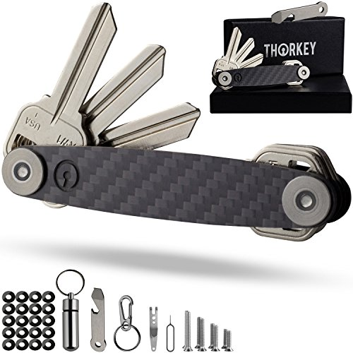 Compact Key Organizer Carbon Fiber- Smart Edc Pocket Keys Holder- Keychain Up To 24 Keys- Free Multitool Bottle Opener, Carabiner, Etc.- Stainless Steel Locking Mechanism- Lightweight & Durable (Pocket Key Holder)