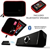 Drum BLACK with RED Edge and Back Pocket Carrying Sleeve For Samsung Galaxy Tab 3 Android Tablet 7-inch Display Thinner Bezel + Supertooth Disco Bluetooth Speaker with AUX Cable