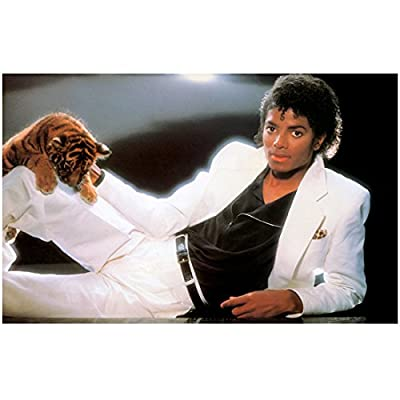 Michael Jackson 8x10 Photo White Suit Black Shirt Tiger Cub kn