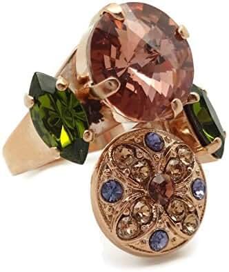 Mariana Rose Gold Plated Swarovski Crystal Ring Antique Rose Rivoli with Olivine 1089 Odyssey Penelope