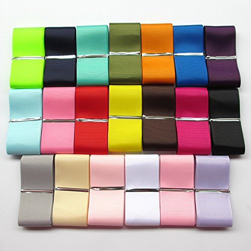 Color Fabric Ribbon (Chenkou Craft Assorted Of 20 Yards Grosgrain Ribbon Total 20 Colors Mix Lots Bulk (1 1/2