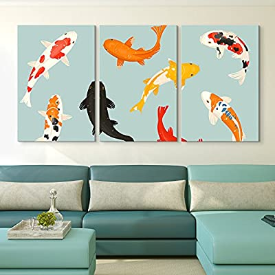 3 Panel Canvas Wall Art - Colorful Goldfish - Giclee Print Gallery Wrap Modern Home Art Ready to Hang - 16