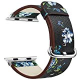 Apple Watch Band 38mm,VONTER iWatch Band Strap for Men/Women Model Smart Watch Band National Pattern Leather Replacement with Metal Clasp Adapter for Series2/Series1 iWatch Sport Edition-Black&Blue
