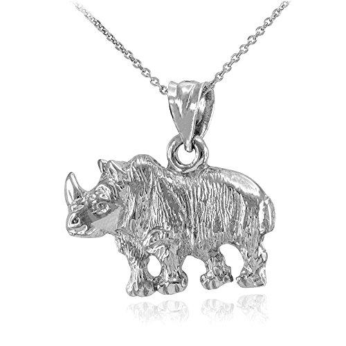 Fine 925 Sterling Silver African Rhino Rhinoceros Pendant Necklace, 16