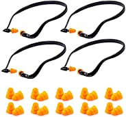 KisSealed 4Pcs Reusable Banded Ear Plugs Hearing Bands Silicone Band Earplugs and Replacement Ear Buds Shootin