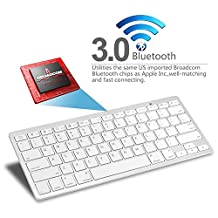 PrimeCables Slim Mini Bluetooth 3.0 Wireless QWERTY Keyboard for iPad mini 1 2/ iPad 1 2 3 / New iPad / Galaxy Tab / Nexus 7 / iPod touch / iPhone / Mackbook Mac mini / iMac and Other Tablets (Silver)