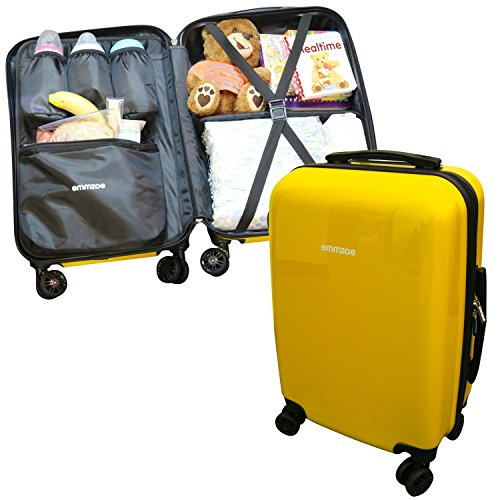 Emmzoe Hardshell Baby Kids Gear 20'' Carry-On Spinner Luggage Multi-Compartment for Food, Toys, Diapers, Clothes - Security Check Friendly (Banana Yellow) by Emmzoe