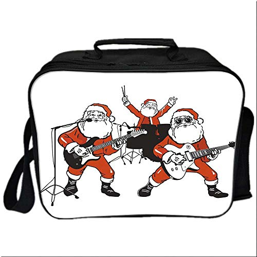 Funny Lunch Box Portable Bag,Santa Claus Rock Band Playing Drums Guitar Father Christmas Show Print Decorative for Kids Boys Girls,10.6