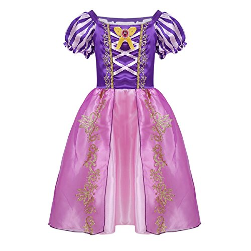 Alvivi Baby Girls Princess Fairy Tale Dress Up Costumes Rapunzel Halloween Cosplay Party Outfit Purple 4-5