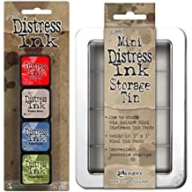 SPECIAL BUNDLE Includes: Ranger Tim Holtz Mini Distress Ink Pads Kit #5 PLUS Distress Mini Ink Storage Tin