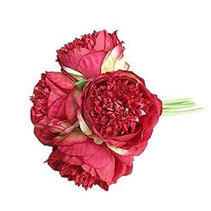 Wffo 1Bouquet 5 Heads Artificial Peony Silk Flower Leaf Home Wedding Party Decor 65