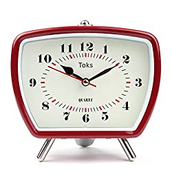 """Lily's Home Vintage/Retro Inspired Analog Alarm Clock, Red 5.5"""""""