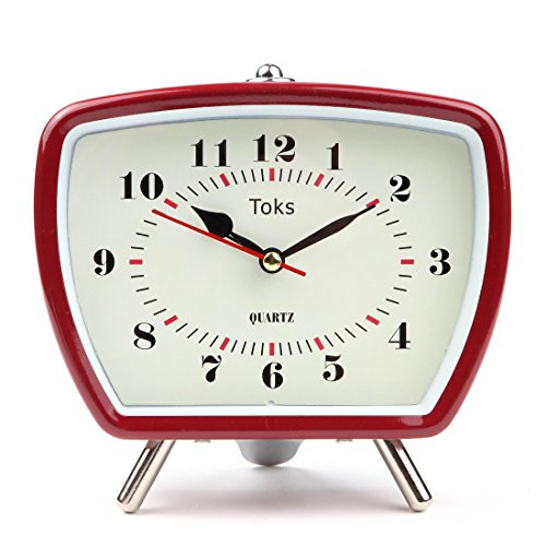 Lily's Home Vintage Retro Inspired Analog Alarm Clock, Looks Like Miniature Television Set with Silver Legs, Small Stylish Clock Adds Character to Any Bedroom, Red (5 1/2