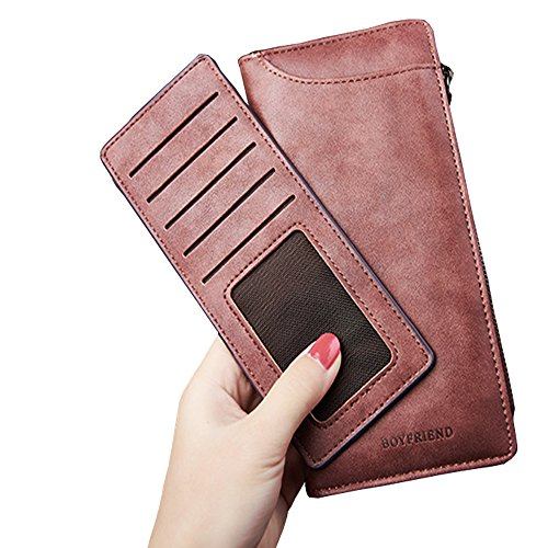 Women RFID Blocking PU Leather Long Clutch Wallets Vintage Zipper Coin Pouch Cash Change Organized Travel Purse Bi-fold Hasp Large Capacity with Removable Card Holder (Dark pink) ()