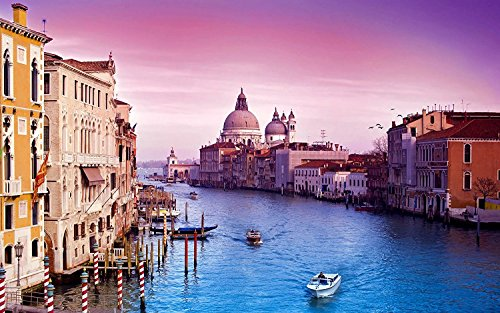 (DDTOP 1000 Piece 30''x20'' Size Italy Venice The Grand Canal Sunset View Stained Art Wooden Jigsaw Painting Puzzle Including The Venice Grand Canal Wooden Boat Red Sunset Scene)