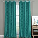 Voyage Jacquard Teal, Top Grommet Blackout Window Curtain Panels, Pair / Set of 2 Panels, 38×96 inches Each, by Royal Hotel For Sale