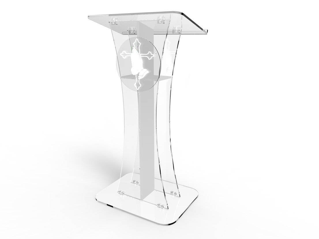 FixtureDisplays Podium Clear Ghost Acrylic w/White Cross with Pray Hand d??cor 1803-310 Easy Assembly Required 1803-310+12152 by FixtureDisplays