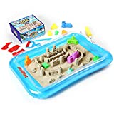 u can do 3d - AnanBros Kinetic Play Sand, Magic Space Sand Castle Building Kit, Squeezable Beach Sand 2 LB + Castle Molds and Sand Tray, Best Sand Toys for Kids