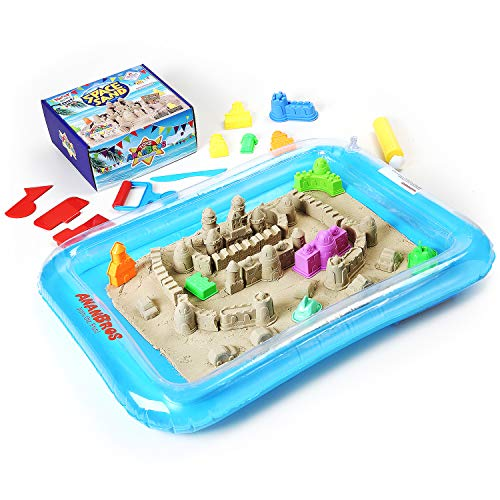 AnanBros Play Sand, Magic Space Sand Castle Building Kit, Squeezable Beach Sand 2 LB + Castle Molds and Sand Tray, Best Sand Toys for Kids (Moon Sand Table)