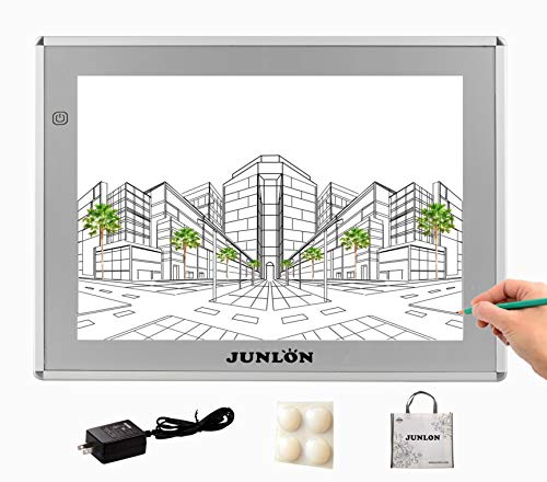 JUNLON Aluminum A4 LED Light Pad,Dimmable Brightness Light Box Light Table, Eyesight-Protected Light Board for Weed Vinyl Artists Kids Tracing,Drawing Training,Artists,Sketching