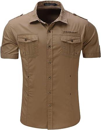 Camisa Cargo de los Hombres Camisa de Trabajo de Manga Corta al Aire Libre, Corte Slim, Tops de Vestir con Bolsillos con Botones (Color : Caqui, tamaño : Metro): Amazon.es: Hogar