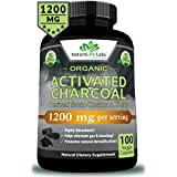 Organic Activated Charcoal Capsules - 1200mg Highly Absorbent Helps Alleviate Gas & Bloating Promotes Natural detoxification