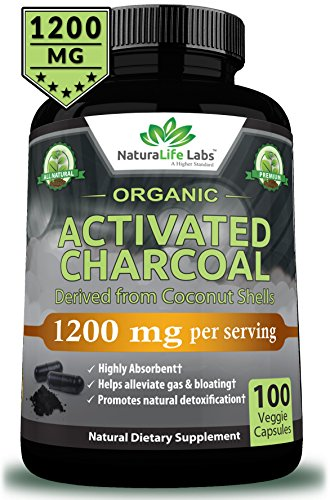 (Organic Activated Charcoal Capsules - 1200mg Highly Absorbent Helps Alleviate Gas & Bloating Promotes Natural detoxification Derived from Coconut Shells - per Serving - 100 Vegan Capsules )