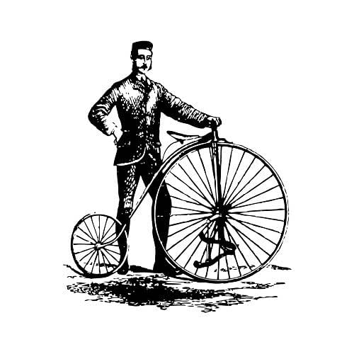 amazon com  antique bike high wheeler style 3 wall decal - pen and ink style