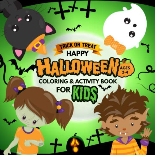 A Fun Halloween Activity Book For Kids Ages 2-4!!! Halloween coloring book for kids. Each picture is printed on one side of pure white paper to minimize scoring and bleed-through. Your child will be love and enjoy coloring in this book with som...