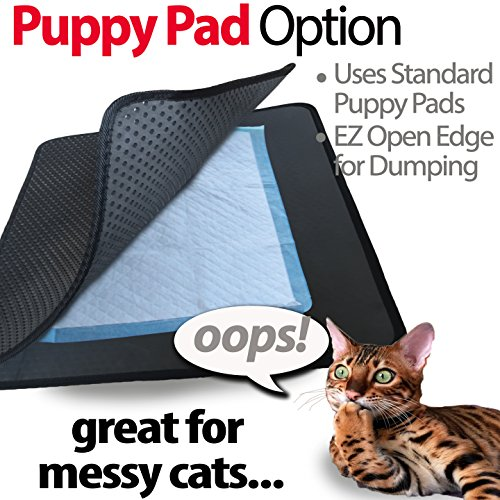 "iPrimio Jumbo Size Cat Litter Trapper Litter Mat, EZ Clean Cat Mat, Litter Box Mat Water Proof Layer and Puppy Pad Option. Patented. (32""x30"" Black)"